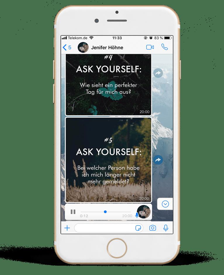 ask-yourself-vorschau. iPhone mit der Darstellung des Ask Yourself Verlaufs